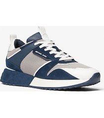mk sneaker theo in mesh e pelle scamosciata - grigio gesso (bianco) - michael kors