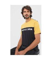 camiseta dc shoes block amarela/preta