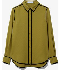 proenza schouler white label rumpled pique pajama top moss/yellow 8