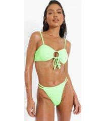 geribbelde dubbelzijdig string bikini broekje, green
