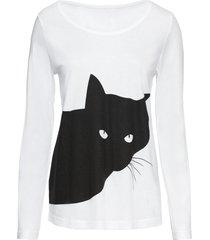 maglia a maniche lunghe con gatto (bianco) - rainbow