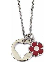 collar corazón y flor roja