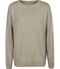brunello cucinelli bead applique plain sweater