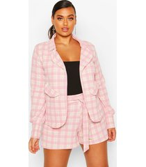 plus small flannel shawl collar oversized blazer, blush