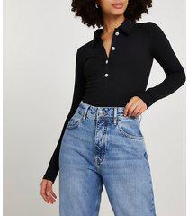 river island womens black button front collar bodysuit