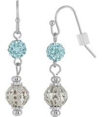 2028 silver-tone aqua fireball and filigree drop earrings