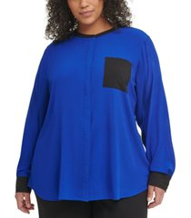 calvin klein plus size colorblocked blouse