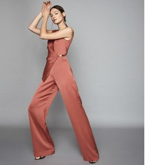 reiss vita - satin wrap front jumpsuit in rust, womens, size 10