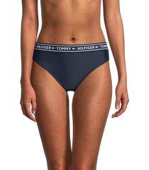tommy hilfiger women's logo band bikini bottom - navy - size s