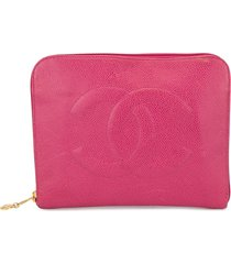 chanel pre-owned grained flat clutch - pink