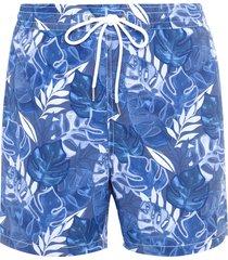 short masculino praia folhagens - azul