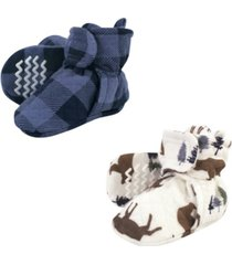 hudson baby boys and girls quilted booties, pack of 2