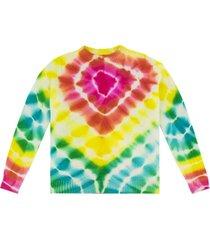 cashmere tie-dye burst simple crewneck sweater