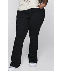 high waist curve bootcut jeans - svart