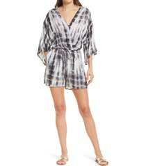 fraiche by j tie dye romper, size x-large in black at nordstrom