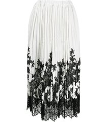 ermanno scervino floral-lace pleated skirt - white