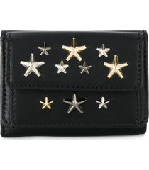 jimmy choo star studded tri-fold wallet - black