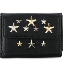 jimmy choo star studded tri-fold wallet - black
