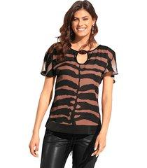 blouse amy vermont zwart::camel