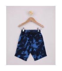 bermuda de moletom infantil estampada tie dye com bolsos azul marinho