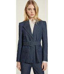 motivi blazer over effetto denim con cintura donna blu