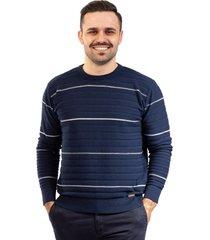 blusa de malha listrada sumaré 10440 azul - kanui
