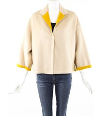 agnona beige yellow cashmere jacket beige/yellow sz: m
