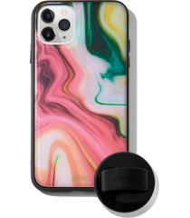 sonix blush agate print iphone 11 pro max case & slide silicone phone ring - pink