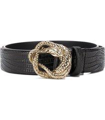 just cavalli embossed snake belt - black
