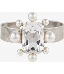 bransoletka perla z białym kryształem