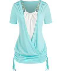 plus size chains surplice cinched tie short sleeve tee