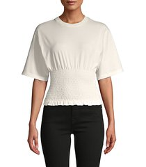 shirred short-sleeve cotton top
