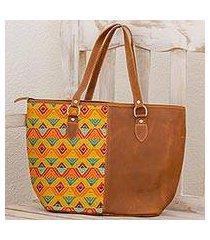 leather and cotton tote handbag, 'textile splendor' (guatemala)