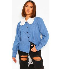 denim overhemd met kraag, mid blue