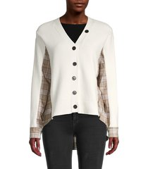 70/21 women's button-front plaid cardigan - white brown - size s