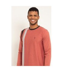 camiseta aleatory listrada manga longa fun masculina