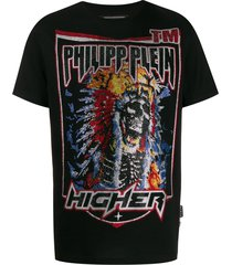 philipp plein cowboy rhinestone-embellished cotton t-shirt - black