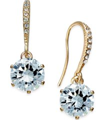 charter club gold-tone cubic zirconia drop earrings, created for macy's