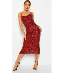 luipaardprint midaxi jurk met pailletten en waterval hals, red
