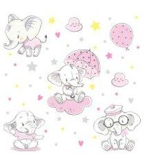 adesivo de parede elefante baby rosa 4,5m²