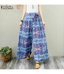 zanzea mujeres de cintura alta casuales pantalones largos anchas piernas holgada de gran tamaño pantalones plus -azul