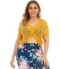 vestido de manga corta con cordón de cuello en v amarillo de talla grande