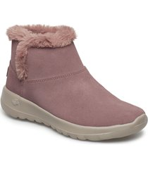 womens on-the-go joy - bundle up shoes boots ankle boots ankle boot - flat rosa skechers