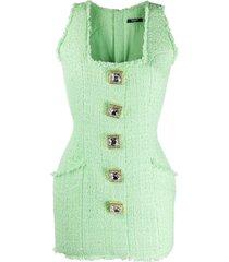 balmain mini sleeveless tweed dress - green