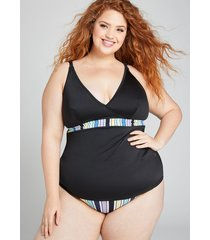 lane bryant women's relaxed no-wire swim tankini top - shimmer fabric 26 black