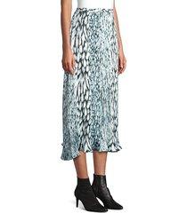 elie tahari women's alex pleated printed tie-dye skirt - stargazer - size 12