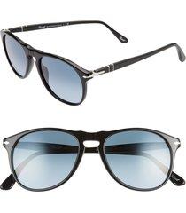 persol 52mm retro sunglasses - black/ azure gradient