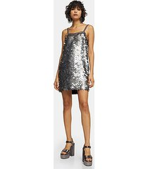 idol silver embellished sequin disc slip dress - silver