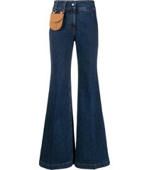 palm angels pouch-pocket flared jeans - blue