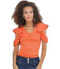 blusa con mangas bolero naranja unipunto 32317